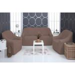 Чехол на диван и два кресла плюшевый какао