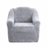 Чехол на диван и два кресла плюшевый серый