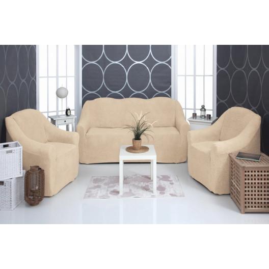 Чехол на диван и два кресла плюшевый бежевый