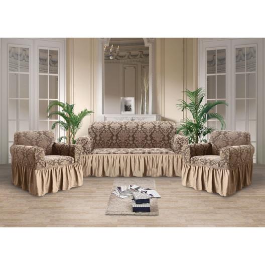 Чехол на диван и кресла стрэйтч-жаккард какао