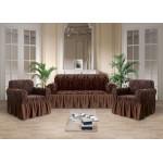 Чехол на диван и кресла стрэйтч-жаккард коричневый