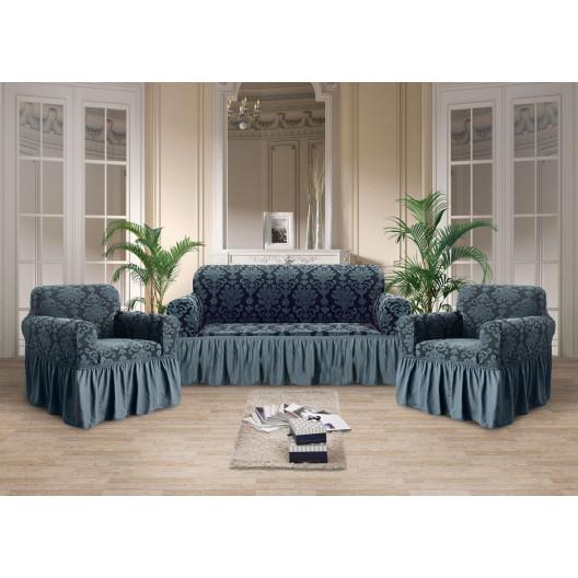 Чехол на диван стрэйтч-жаккард синий