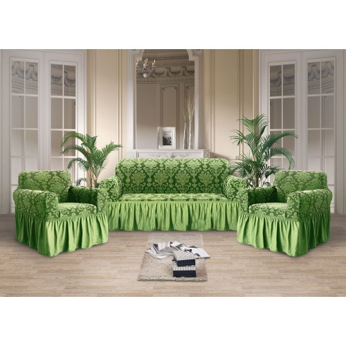 Чехол на диван и кресла стрэйтч-жаккард зеленый