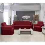 Чехлы на диван и два кресла Altinkoza соты бордовый