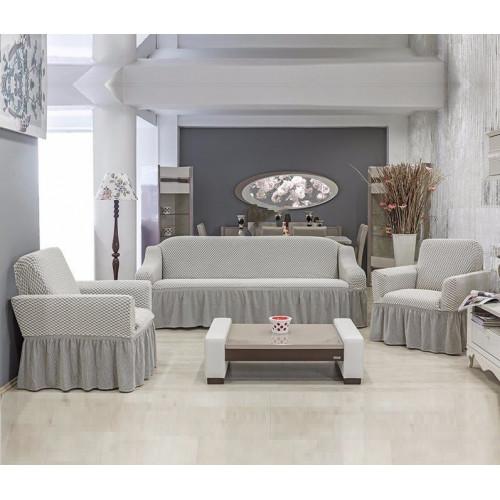 Чехлы на диван и два кресла Altinkoza соты серо-белый