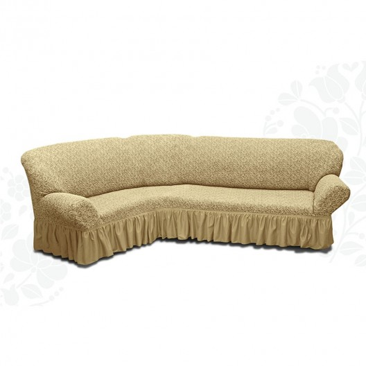 Чехол на угловой диван жаккард бежевый