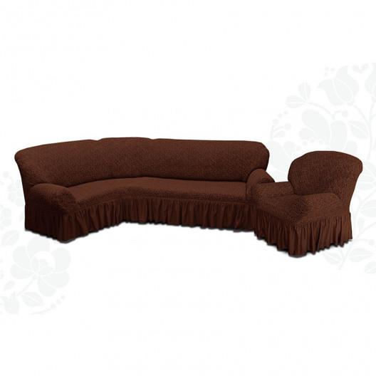 Чехол на угловой диван и кресло жаккард шоколад