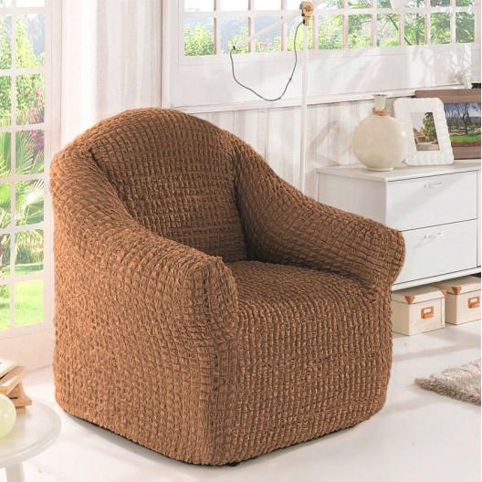 Чехол на кресло без оборки ореховый