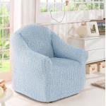 Чехол на кресло без оборки серо-голубой
