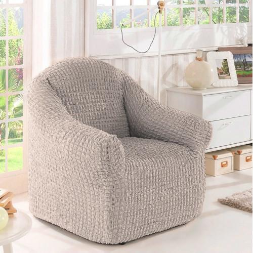 Чехол на кресло без оборки серый