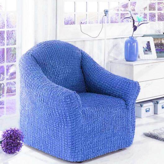 Чехол на кресло без оборки синий