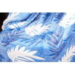 Плед бамбук листья голубой
