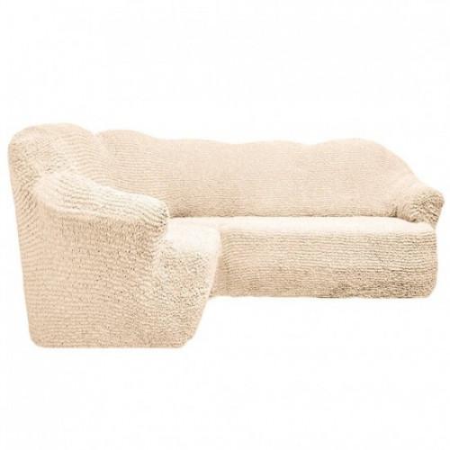 Чехол на угловой диван без оборки молочный