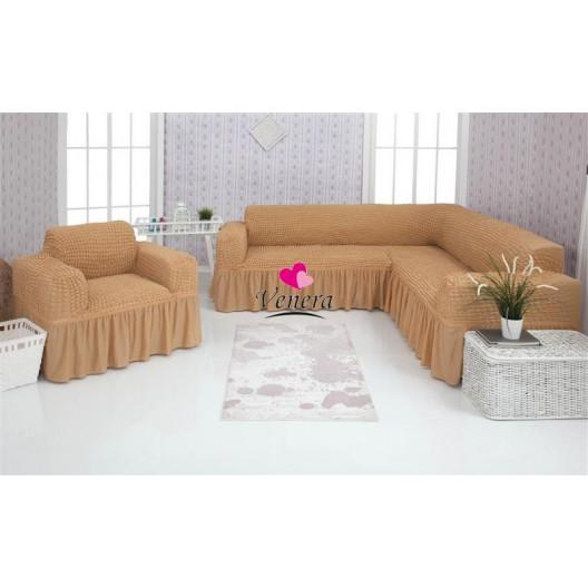 Чехол на угловой диван и кресло 203