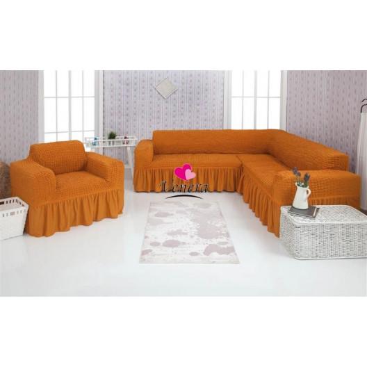Чехол на угловой диван и кресло 208