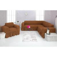 Чехол на угловой диван и кресло с оборкой