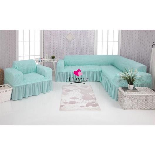 Чехол на угловой диван и кресло 218