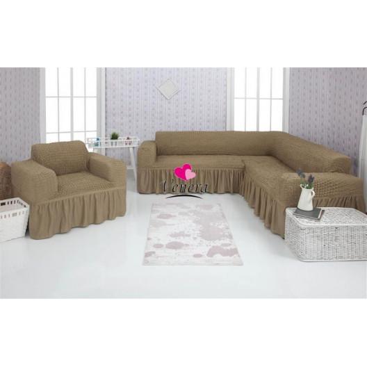 Чехол на угловой диван и кресло 220