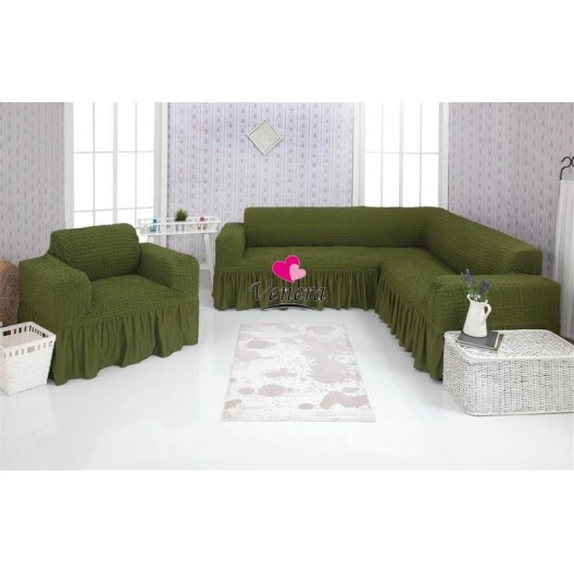 Чехол на угловой диван и кресло 222