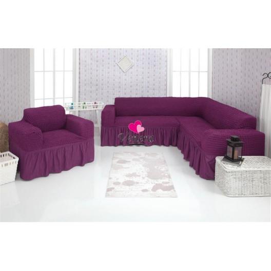 Чехол на угловой диван и кресло 225