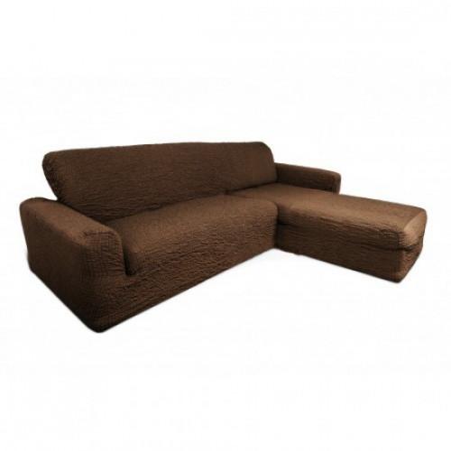 Чехол на угловой диван с оттоманкой коричневый с правым углом