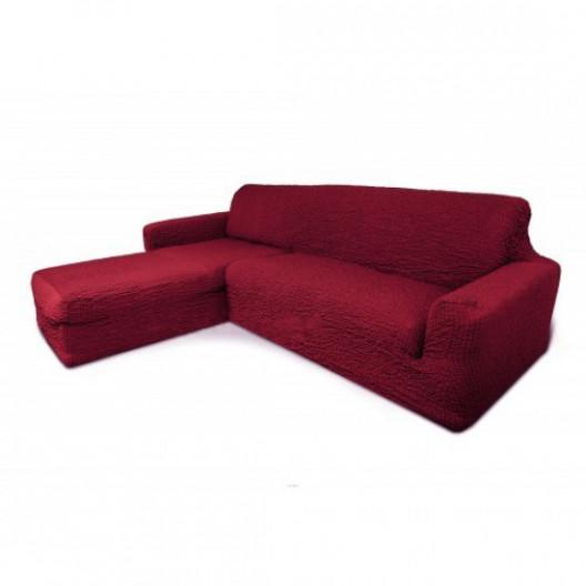 Чехол на угловой диван с оттоманкой бордовый с левым углом