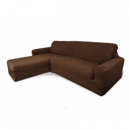 Чехол на угловой диван с оттоманкой коричневый с левым углом