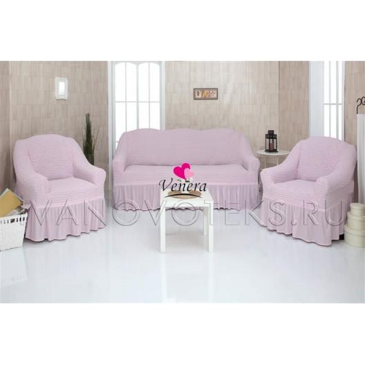 207 Чехлы на диван и два кресла розовый