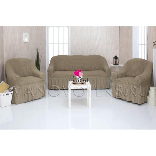 220 Чехлы на диван и два кресла темно-оливковый