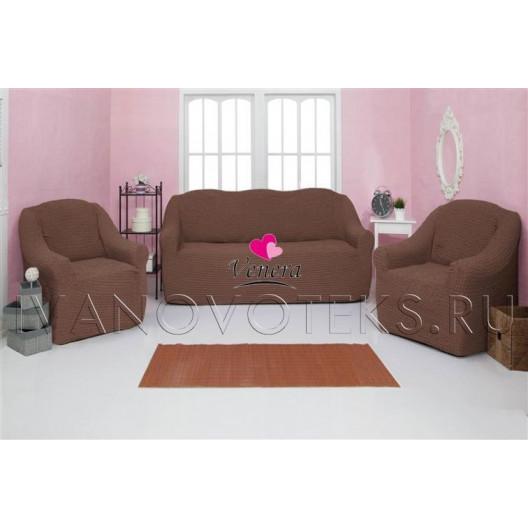 202 Чехол на диван и два кресла без оборки какао