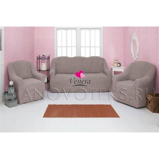 205 Чехол на диван и два кресла без оборки серый-капучино
