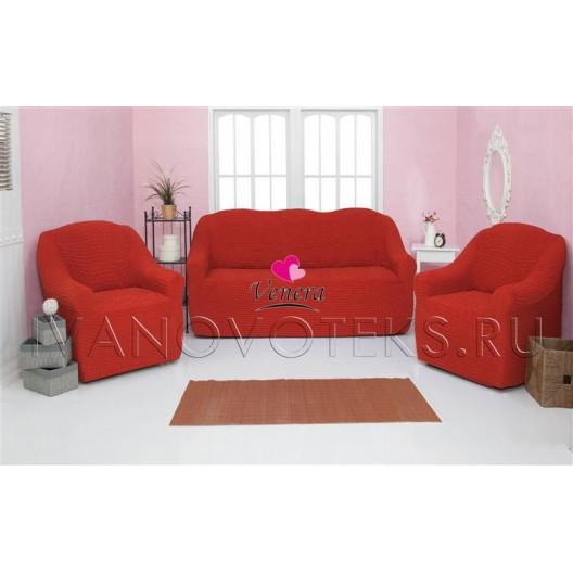 223 Чехол на диван и два кресла без оборки терракот