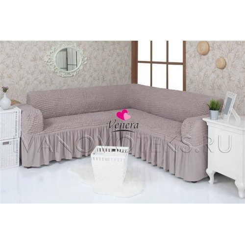 205 Чехол на угловой диван серый-капучино