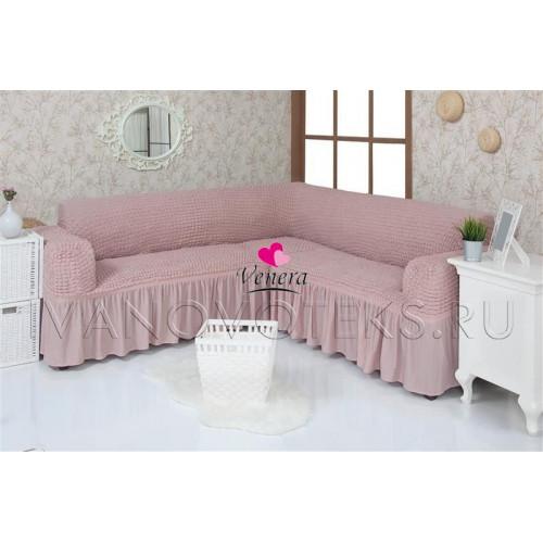 206 Чехол на угловой диван пыльно-розовый