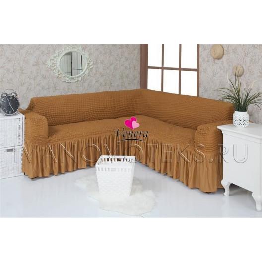219 Чехол на угловой диван песочный