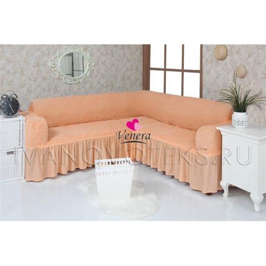 227 Чехол на угловой диван персик