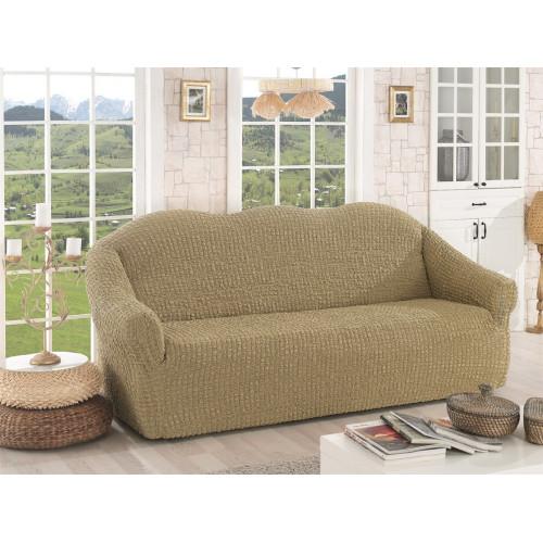 Чехол на диван без оборки бежевый