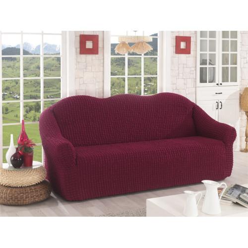 Чехол на диван без оборки бордовый