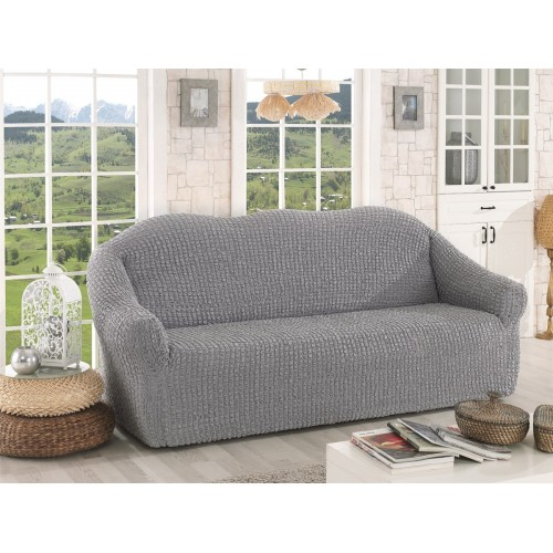 Чехол на диван без оборки серый