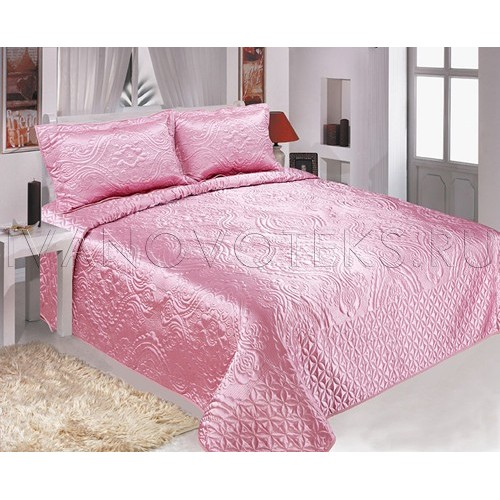 Покрывало атлас розовый